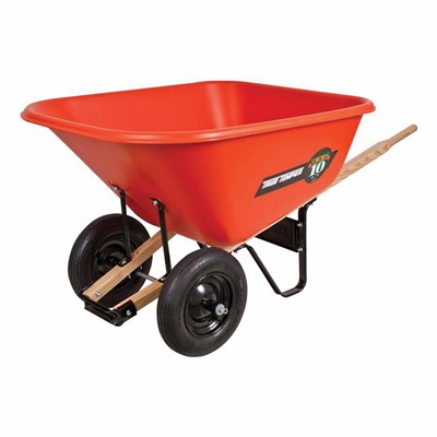 WHEELBARROW 10CU-FT POL THN HDWD 2WHEELS